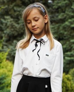 Koszula z czarną tasiemką 134-164 Ada biel