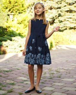 Elegancka sukienka z szarfą 128-146 Princeska granat