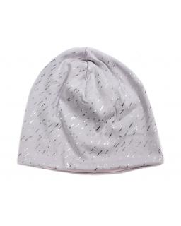 Dziewczęca czapka ze srebrnym wzorkiem 50-52 GBO-06 szary