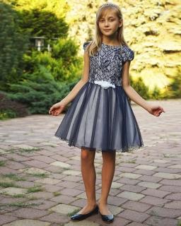 Dziewczęca stylowa sukienka 134-158 Karla granat plus biel