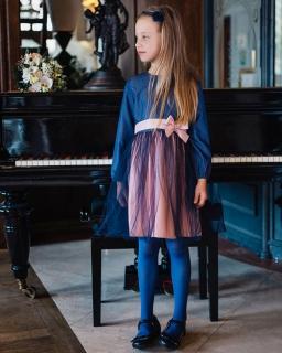 Sukienka z tiulowym dołem dla dziewczęca 128 - 152 Mariola róż plus granat