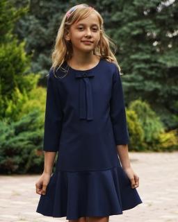 Sukienka z kokardą dla dziewczynki 134-158 4A/JSN granat