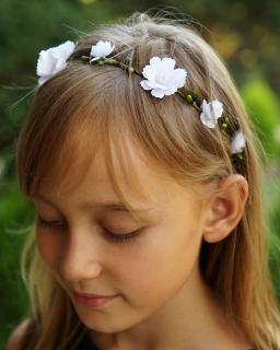 Dziewczęca opaska na gumce WG02 zielony plus biały