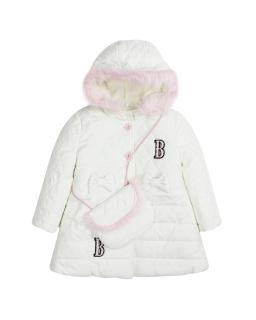 Dziewczęca pikowana kurtka z torebką 86-116 Barbi ecru