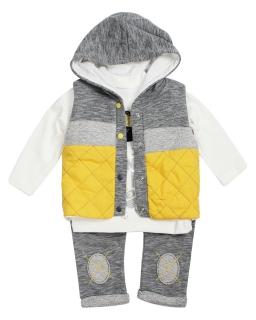 Komplet niemowlęcy KP02 6-18 miesięcy szary plus żółty
