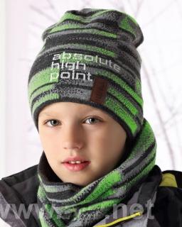 Tuba i czapka dla chłopca 52/54 AJS/34-417 zielony + grafit