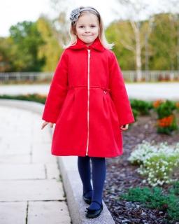 Płaszcz z futerkiem 98 - 128 Pola czerwony