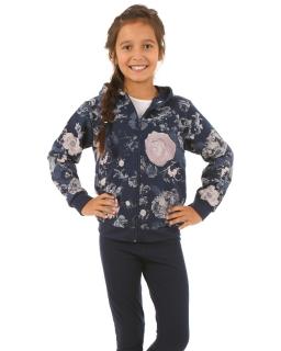 Dziewczęca bluza w róże 116-158 KRP27 granat