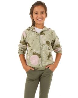 Dziewczęca bluza z zamkiem 116-158 KRP27 Oliwka