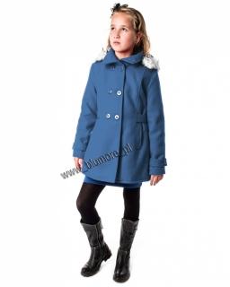 Wygodny płaszcz z odpinanym kapturem 128-164 Angela niebieski