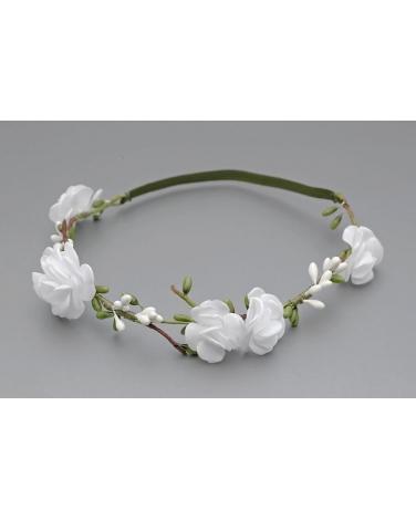 Opaska z białymi różami OW091