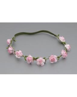 Delikatna opaska z różowymi różyczkami OW090