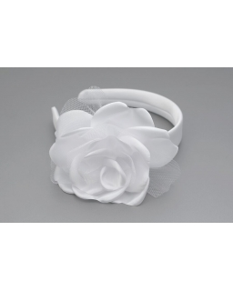 Biała opaska z dużym kwiatkiem OP76