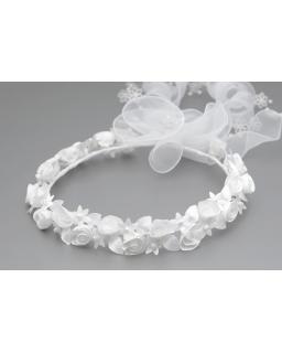 Dziewczęcy wianek komunijny w róże W010 biały