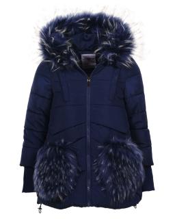 Zimowa kurtka z futrzanymi wstawkami 92-110 GMA 4843 granat