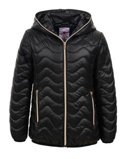 Przejściowa pikowana kurtka z kapturem 134-170 GMA-4406 czarny