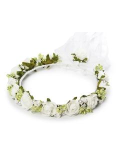 Komunijna ozdoba na głowę dla dziewczynki W84 biel plus zieleń