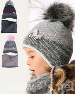 Dziewczęcy komplet czapka plus tunel 52/54 AJS/34-355 trzy kolory