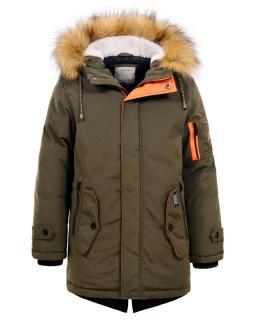 Kurtka na zimę dla chłopaka 134-152 BMA-4849 khaki