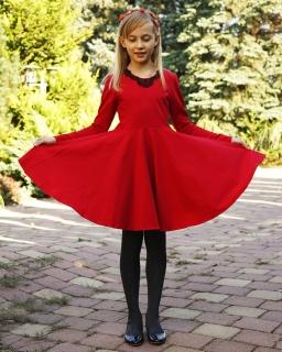 Wirująca sukienka dla dziewczynki 134 - 170 Sonia czerwony