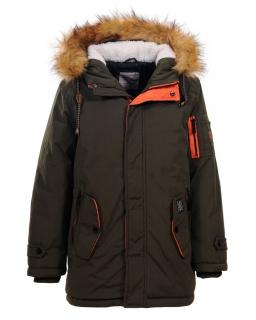 Zimowa kurtka dla chłopca 134-170 BMA-4849 ciemna zieleń