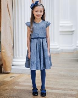 40178653bd Sukienka w wytłaczne róże 98-122 Wiki niebieski