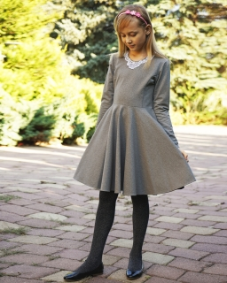 Dziewczęca sukienka szyta z koła 134 - 170 Sonia szary
