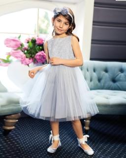 Sukienka z wystawnym dołem 122-146 1B/JSN szara
