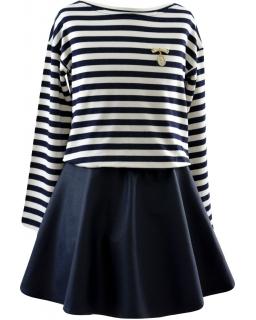Wygodna sukienka z górą w pasy 134-158 Naomi czarny
