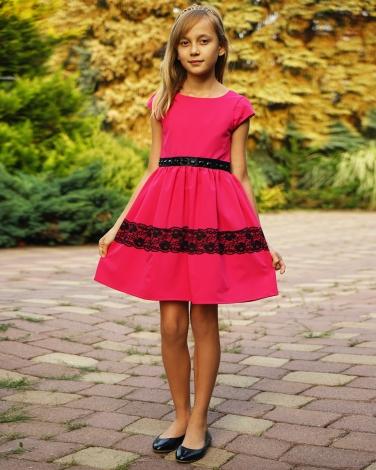 12bfd63ff7a4ba Sukienka z ozdobnym pasem 62-152 Joanna fuksja