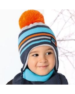 Chłopięca czapka z kominem AJS/34-370 dwa wzory