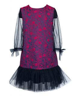 Dziewczęca zjawiskowa sukienka z tiulem 128-158 6/JSN czarny plus róż
