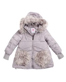 Zimowa kurtka z futerkiem na kieszonkach 92-128 GMA-4843 szary