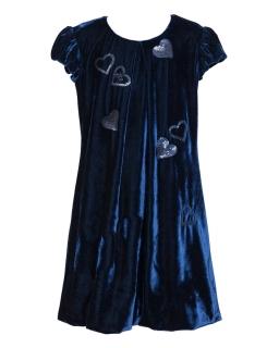 Welurowa sukienka dziewczęca 122-152 16/JSN Granat