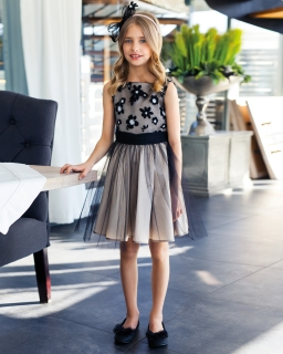Sukienka z szarfą 128-158 18/JSN Beż plus czerń