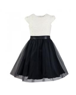 Piękna sukienkia dla dziewczynki 140-164 Adel ecru plus czerń.