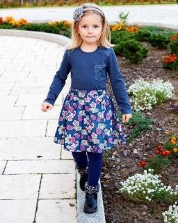 Dziewczęca spódnica w kwiatki 92-122 Róża jeans