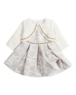 Sukienka i sweterek dla dziewcyznki 1-4 Iza ecru plus srebro