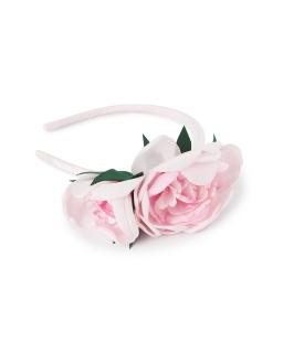 Stylowa opaska z dużą różą OP375 róż