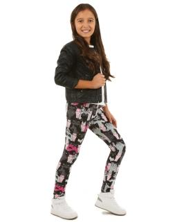 Bawełniane legginsy w kotki 116-158 KRP110 czarny plus róż