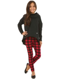 Ciepłe legginsy w kratkę 116-158 KRP111 czarny plus czerwony