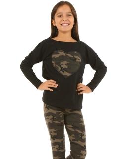 Modna bluza z sercem na przodzie 116-158 KRP115 czarny