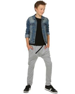 Modnie spodnie baggy z zamkiem 116-158 KRP116 szary