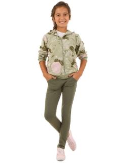 Elastyczne spodnie dla dziewczynki 116-158 KRP11 Khaki