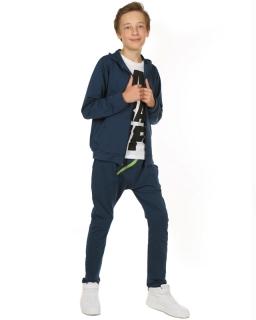 Chłopięce spodnie w stylu baggy 116-158 KRP116 granat