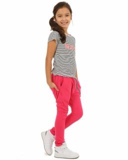 Spodnie baggy dla dziewczynki 116-158 KRP117 Fuksja