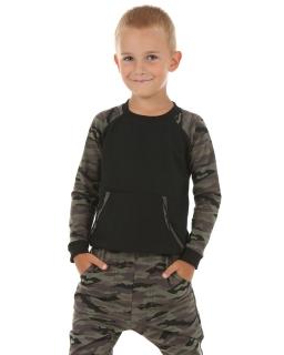 Bluza z kieszonką kangurką 116-158 KRP118 czarny plus khaki