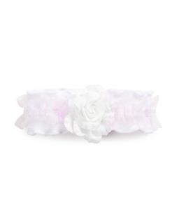 Opaska z kwiatem dla niemowlaka LP24 Biel plus róż