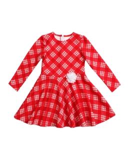Sukienka z pikówki w kratkę 98-122 Karolinka czerwony