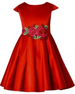 Rozkloszowana sukienka z różami 128-158 Róża czerwony